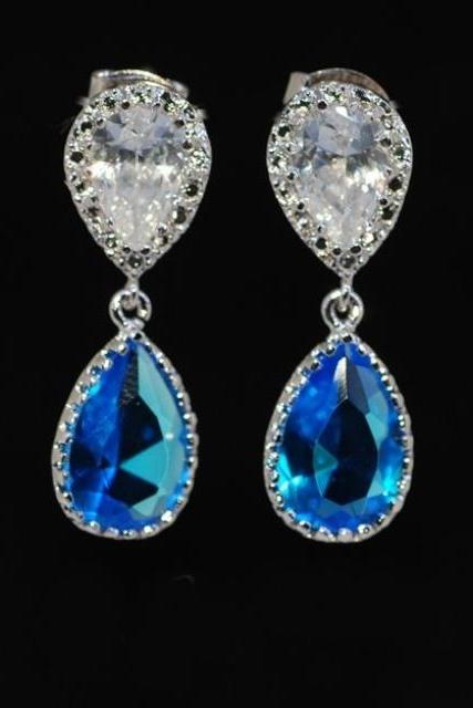 Cubic Zirconia Teardrop Earring with Blue Zircon Glass - Wedding Jewelry, Bridesmaid Earrings, Bride Jewelry, MOH Gift (E224)