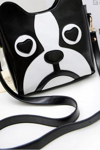 Cute Black and White Cartoon Dog Fashion Bag