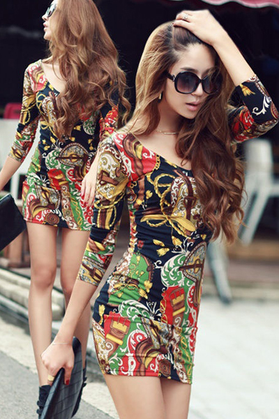 Sexy V Neck Printed Long Sleeve Mini Dress