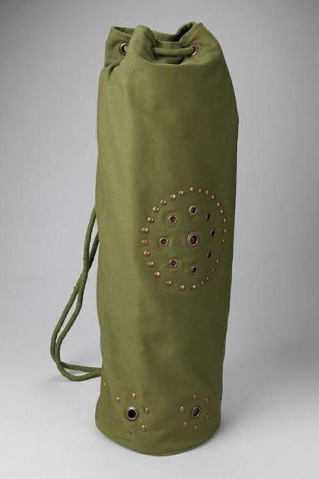 Chakra Rivet Yoga Mat Bag in OLIVE