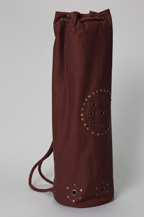 Chakra Rivet Yoga Mat Bag in CHOCOLATE