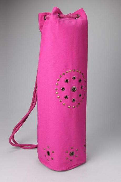 Chakra Rivet Yoga Mat Bag in HOT PINK