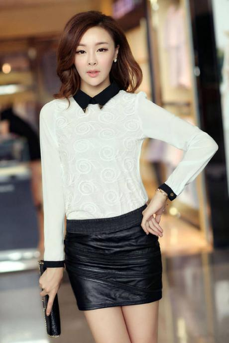 White Doll Collar Long Sleeve Chiffon Blouse