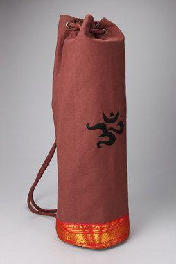 Saree Trimmed Yoga Mat Bag in MOCHA