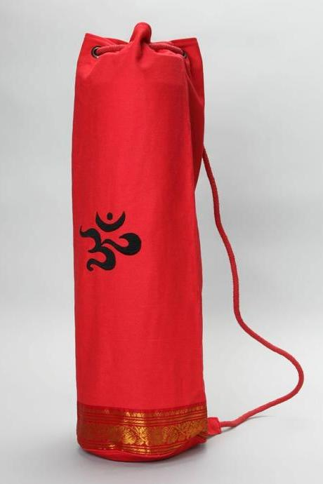 Saree Trimmed Yoga Mat Bag in RED