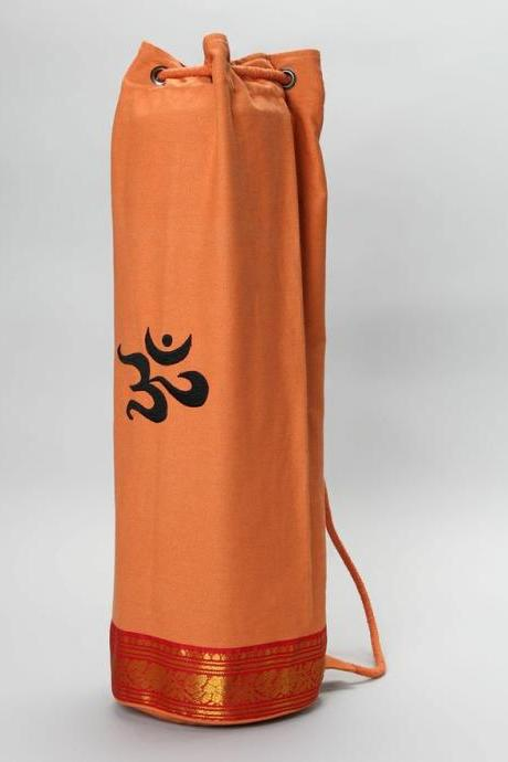 Saree Trimmed Yoga Mat Bag in ORANGE