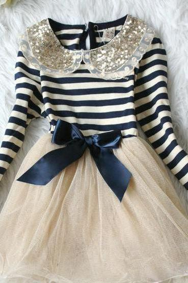 Golden Peter Pan Collar Blue Stripe Dress for Toddler Girls-Navy Blue Ivory Stripe Dress Girl- Free Shipping