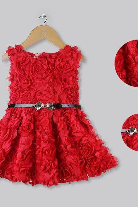 Formal Wear Red Rose Floral Dress Sleeveless Dress for Girls - FREE SHIPPING AND READY TO SHIP!