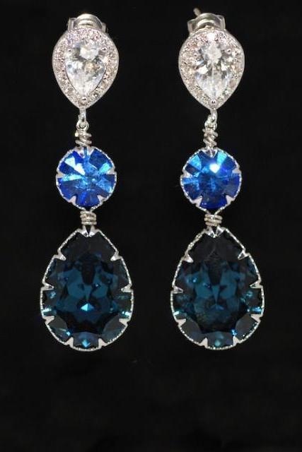 Cubic Zirconia Teardrop Earring with Swarovski Sapphire Round, Montana Blue Teardrop Crystals - Wedding Jewelry, Bridal Earrings (E561)