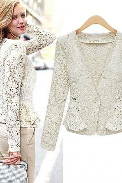Apricot Lace Fashion Blazer