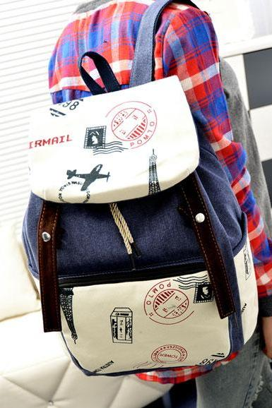 Fresh Postmark Eiffel Tower Canvas Backpack