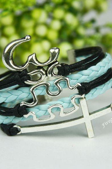Cross, Puzzle and Om bracelet Autism Awareness charm wrap Bracelet