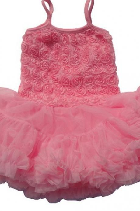 Girls Soft Pink Multilayer pageant Ballet Casual Outfit Dress