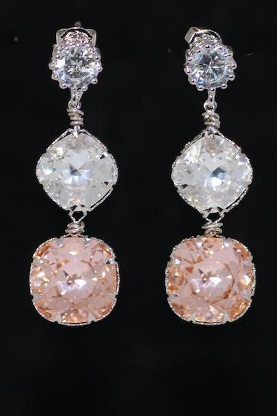 Round Cubic Zirconia Earrings with Swarovski Clear and Light Peach Cushion Cut - Wedding Jewelry, Bridal Earrings (E644)