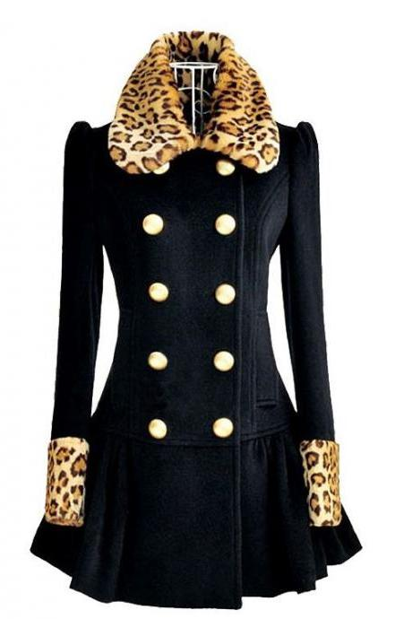 FREE SHIPPING! Navy Blue Coat for Women-Leopard Collar Winter Navy Blue Coat-Leopard Blazer Jacket