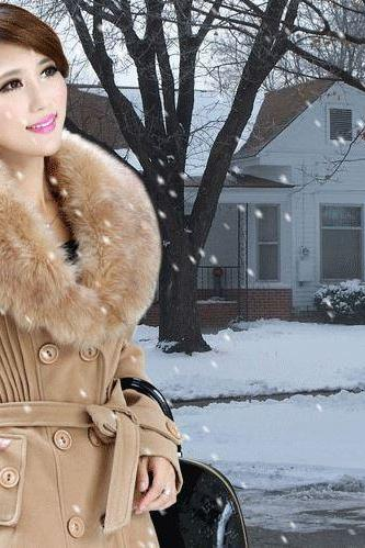Brown Winter Wool Coats for Women