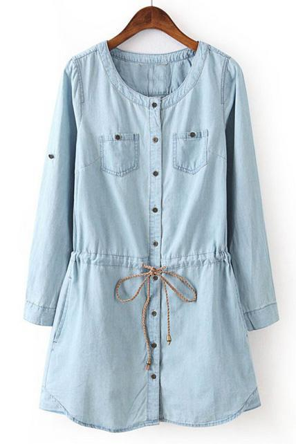 Simple Round Neck Long Sleeve Denim Dress - Light Blue