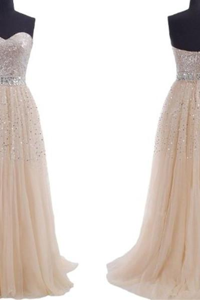 2016 plus size modest Champagne Prom Dresses sequins sweeheart zipper or lace up Long Evening Part dress custom made