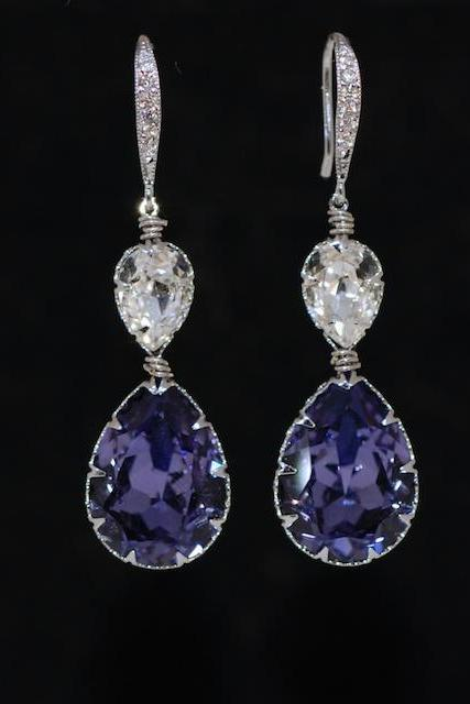 Cubic Zirconia Detailed Earring Hook with Swarovski Clear, Tanzanite (Purple) Teardrop Crystals - Wedding Jewelry, Bridal Earrings (E650)