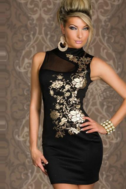 Mandarin Collar Floral Print Black Dress