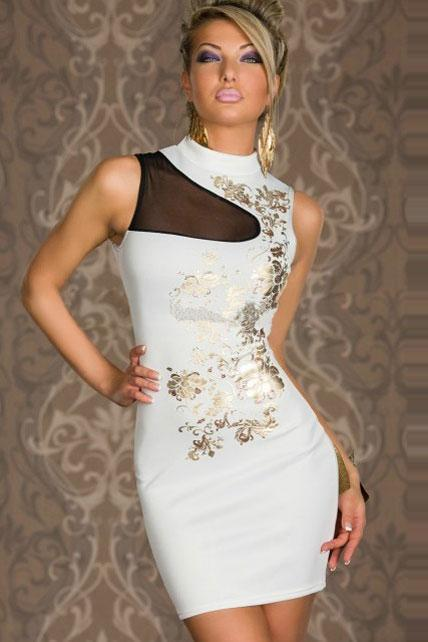 White Mandarin Collar Vintage Design Sexy Dress