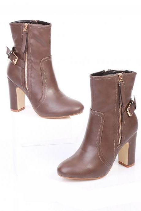 Brown Leather Boots. Taupe Leather Boots.