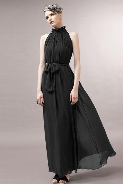 Traditional Mandarin Collar Pleated Chiffon Dress With Belt - Black