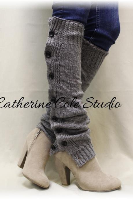 HEAVENLY HEATHER Silver Leg warmers boot button down leg warmers legwarmers lace leg warmers womens knit leggings Catherine Cole Studio LW07