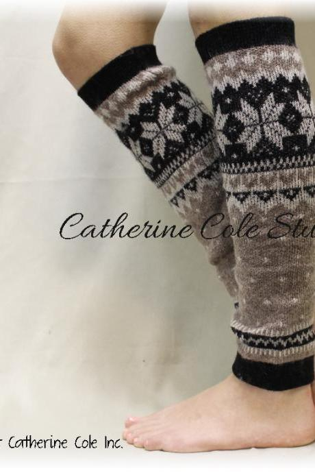 CUDDLY CASHMERE, LW8- tan/black super soft knit snowflake womens legwarmers for boots leggings snowflake leg warmers Catherine Cole Studio
