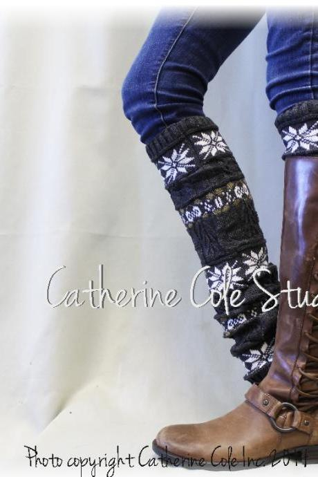 SNOWFLAKE CHIC in grey basic knit snowflake patterned womens legwarmers for boots leggings snowflake leg warmers Catherine Cole Studio LWB6