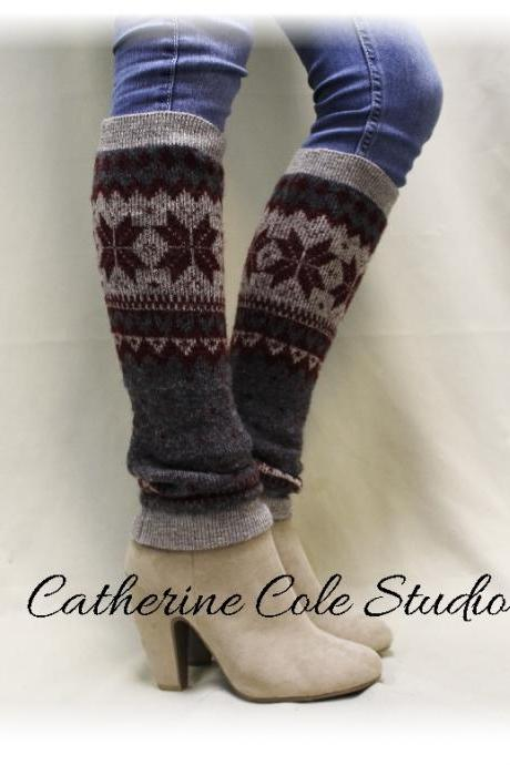 CUDDLY CASHMERE Grey super soft knit snowflake soft womens legwarmers for boots leggings snowflake leg warmers LW8 Catherine Cole Studio