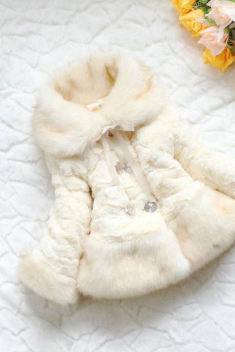 Free Shipping! Girls OFF WHITE Jacket-jacket Christmas Fur Jacket -Super Soft Luxurious jacket for Girls-Winter Faux Off White Jacket