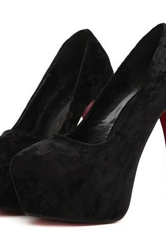 Beautiful Black Suede Platform Pumps