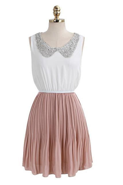Sweet White and Pink Splicing Sequins Peter Pan Collar Dress