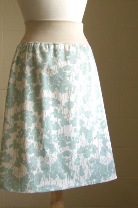 Sea Blue and Cream Floral Print Cotton Aline Skirt