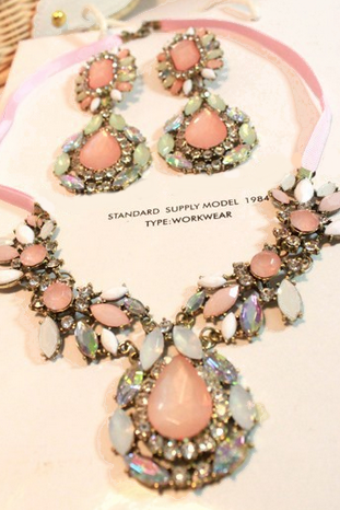 NEW 448 luxurious water-drop resin big gemstone crystal flower statement necklace+earrings bridal wedding sets