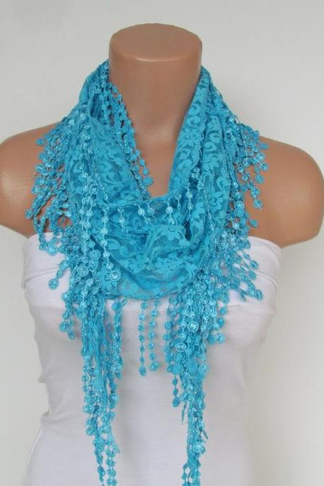 Turquoise Lace Scarf With Fringe New Season Scarf-Headband-Necklace- Infinity Scarf- Accessory-Long Scarf-Fall Fashion