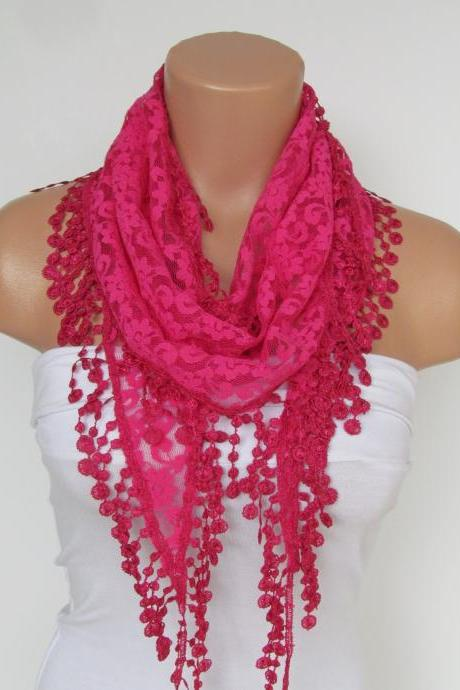 Deep Pink Long Scarf With Fringe-Winter Fashion Scarf-Headband-Necklace- Infinity Scarf- Winter Accessory-Long Scarf