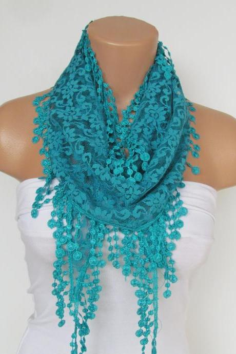 Turquoise Lace Scarf With Fringe-Fall Fashion Scarf-Headband-Necklace- Infinity Scarf-New Season Accessory-Long Scarf