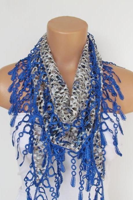 Leopard Patterned Blue Lace Scarf With Fringe-Fall Fashion Scarf-Headband-Necklace- Infinity Scarf-New Season Accessory-Long Scarf