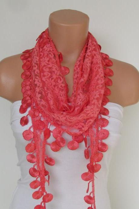 Indianred Lace Scarf With Fringe-Fall Fashion Scarf-Headband-Necklace- Infinity Scarf-New Season Accessory-Long Scarf