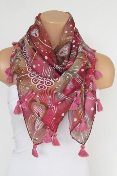 Pink Floral Scarf with fringe -Triangle Shawl Scarf-Fall Fashion-Necklace-Cotton Scarf- Neckwarmer- Infinity Scarf-Gift