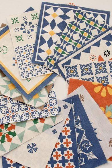 Scandinavian Style Iznik Design Fabric Panel, 18 Designs Fabric Package