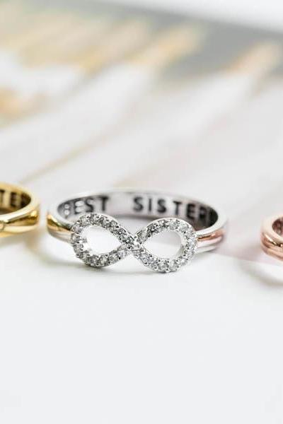 Best sisters ring,Ring,bridesmaid gift,infinite,infinity ring,sister ring,friendship ring,best friend ring,all crystal ring,R405N