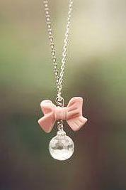 *Free Shipping* Cute Pink Bow Crystal Drop Necklace