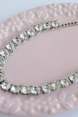 Mini Clear Jewel Crystal Bling Statement Necklace