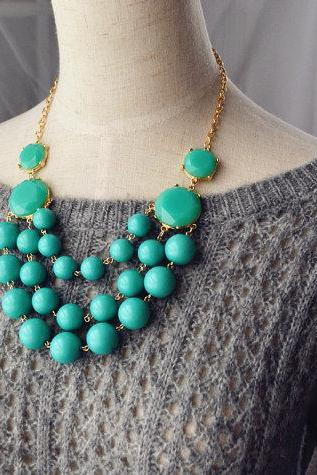 Multi Strand Bubble Necklace Statement Necklace Turquoise