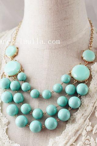 Multi Strand Bubble Necklace Mint