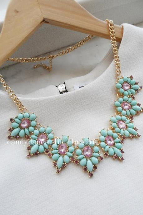 Mint and Purple Jewel Crystal Statement Necklace.Flower necklace