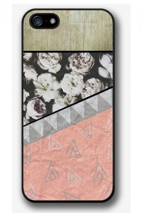 iPhone 4 4S 5 5S 5C case, iPhone 4 4S 5 5S 5C cover, Geometric Flowers on wood